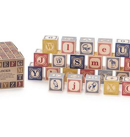 playtime wooden ABC blocks (French) w/ canvas bag
