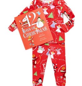 girl 12 days of christmas girl pajama and book set