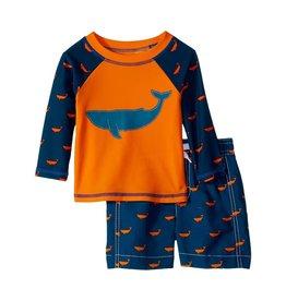 baby boy hatley mini swim trunks & rashguard set
