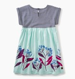 girl blue florals empire dress