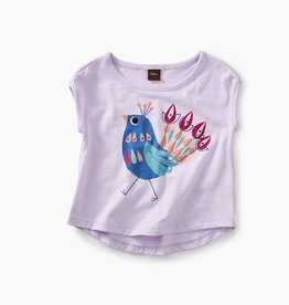 little girl peacock graphic baby tee