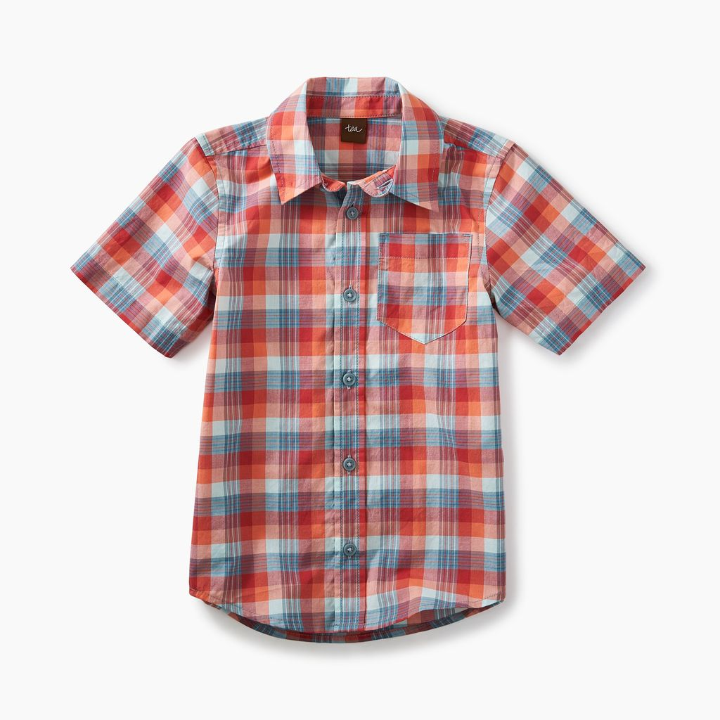boy plaid ss button shirt