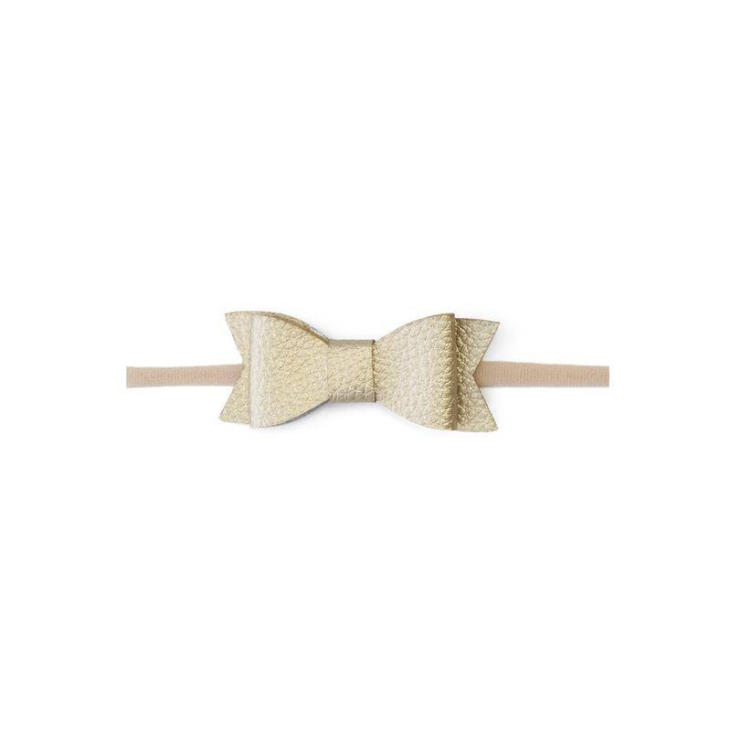 hair baby bling leather bow tie skinny headband
