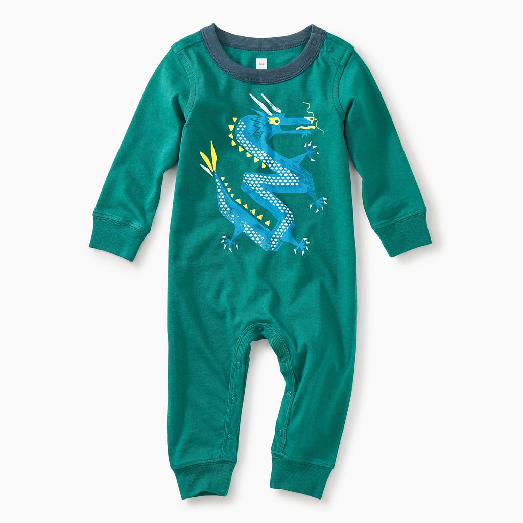 master zig zag dragon graphic romper