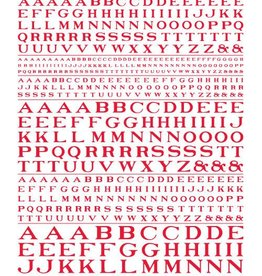 Woodland Scenics (WOO) Dry Transfer Roman Letters, Red