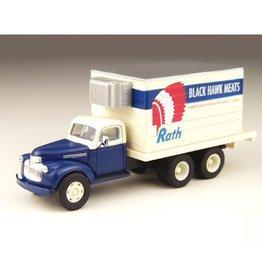 Classic Metal Works (MWI) HO 1941-46 Chevy Box Truck, Black Hawk Meats