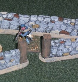 Foxhole Terrain (FHT) 28mm Stone Fence Gate (3 Straight, 1 Gate)