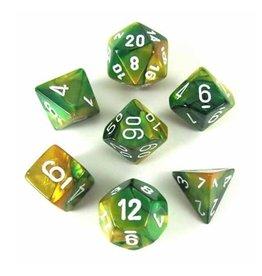 Chessex (CHX) Gemini Poly Gold Green/White (7)