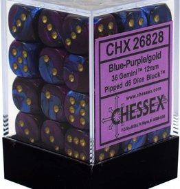 Chessex (CHX) Gemini 2 12mm D6 Blu-Pur w/ Gld (36)