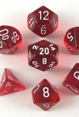 Chessex (CHX) Translucent: Poly Red w/ White (7)