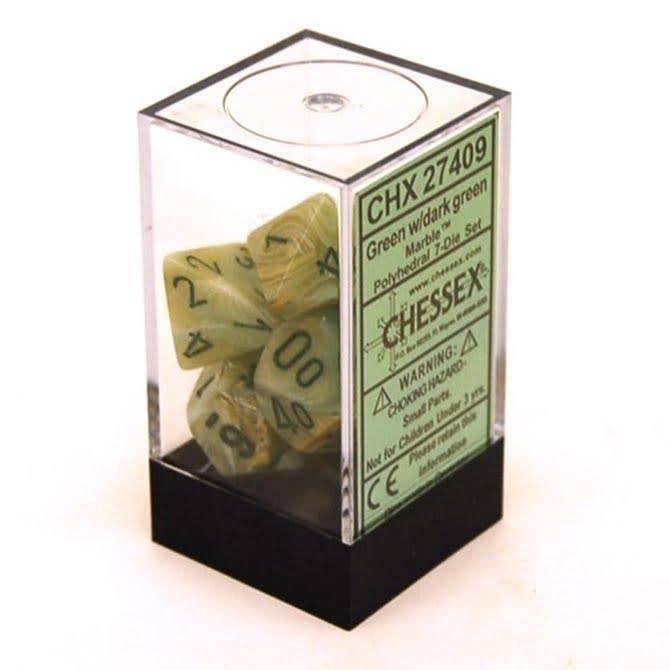 Chessex (CHX) 7 die Marble: Green/Dark Green