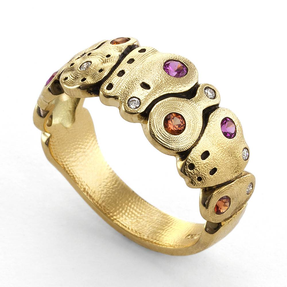 Alex Sepkus Amy's Flowers gold ring with sapphires and diamonds
