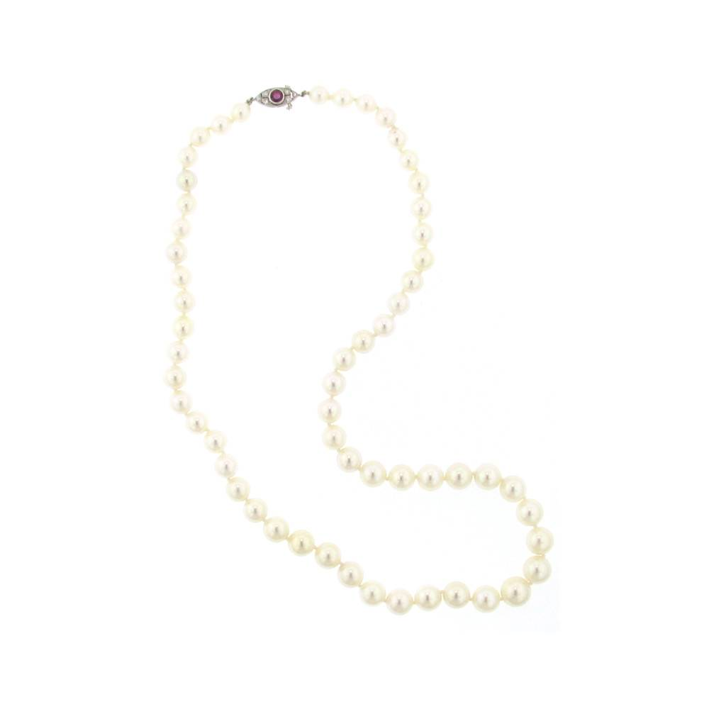 Assael Akoya cultured pearl strand necklace with platinum clasp