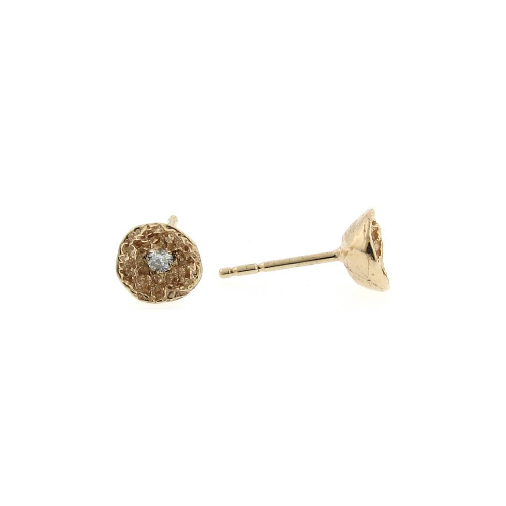 Branch Moss Shell stud earrings in rose gold and diamonds