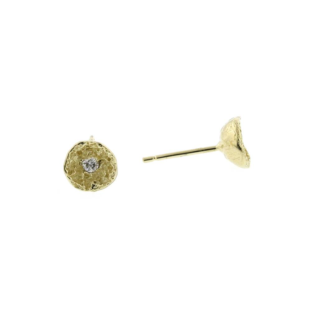 Branch Moss Shell stud earrings in yellow gold and diamonds