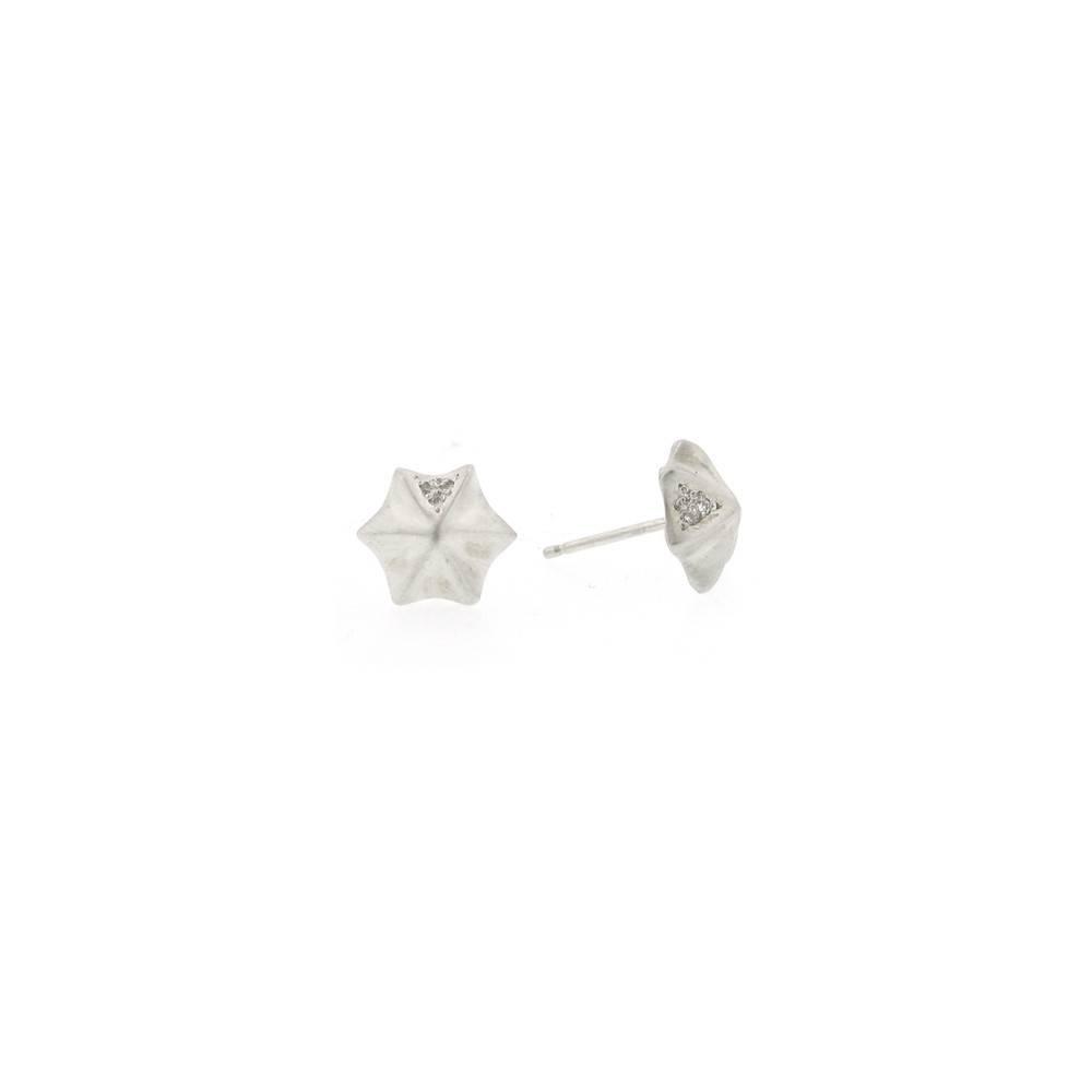 Branch Mushroom stud silver earrings