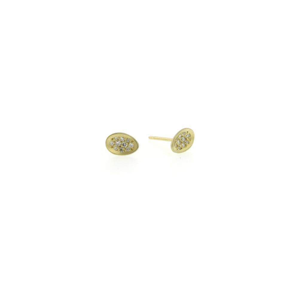 Branch Pave Egg yellow gold stud earrings with diamonds