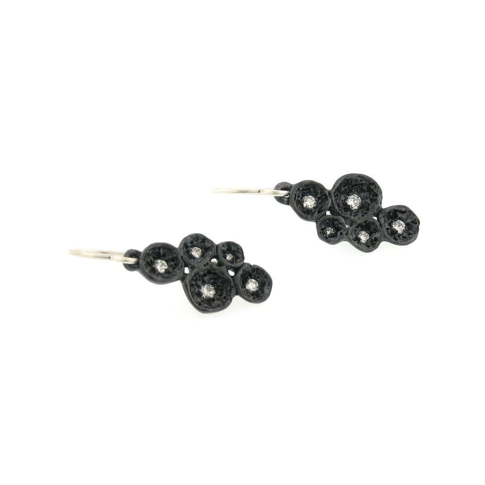 Branch Lava Shell Cluster blackened silver drop earrings