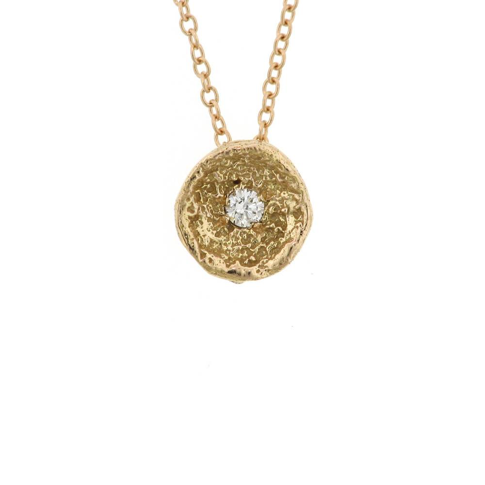 Branch Moss Shell gold necklace with diamond