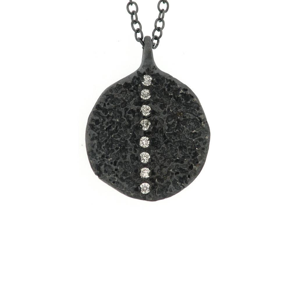 Branch Small Lava Stripe silver necklace