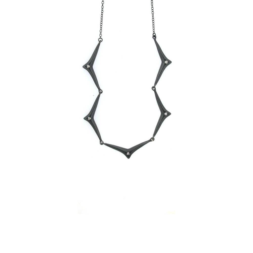 Branch Thorn Chain blackened silver necklace with diamonds