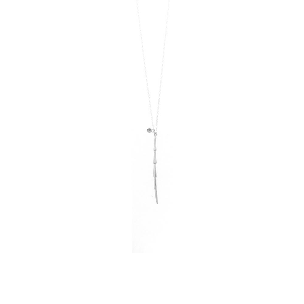 Branch Spiny T + Charm long necklace with diamond