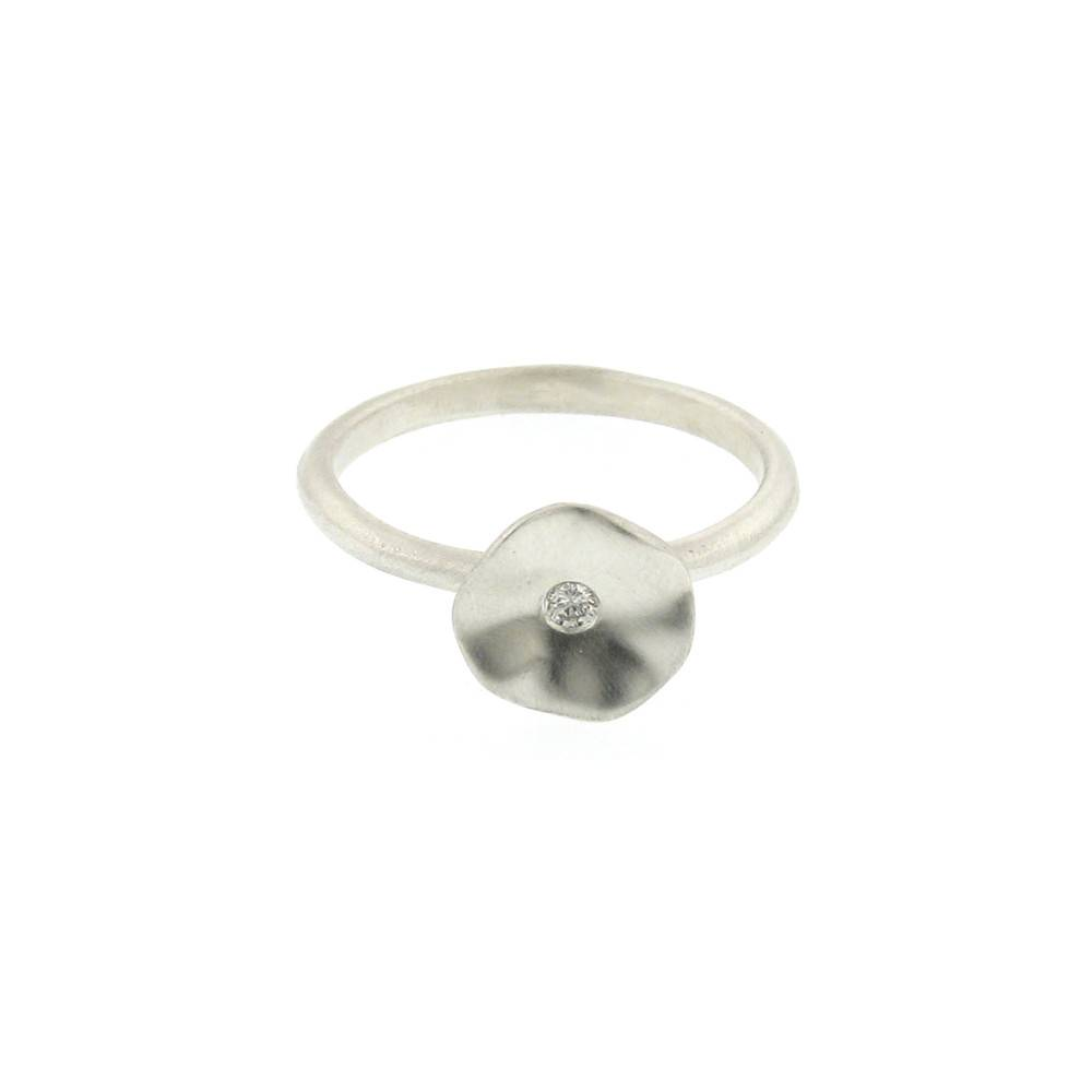 Branch Seed sterling silver ring with diamond center