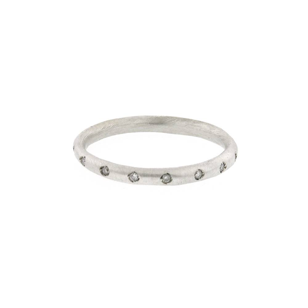 Branch Pod Band silver ring with diamonds