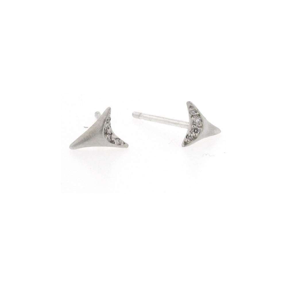 Branch Mini Tooth silver stud earrings with white diamonds