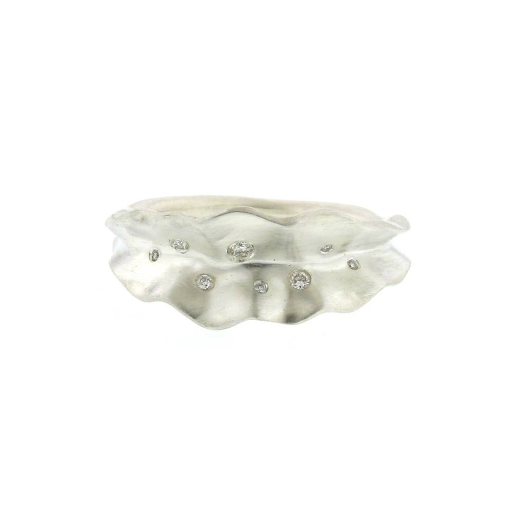 Branch Thin Ruffled Leaf sterling silver ring