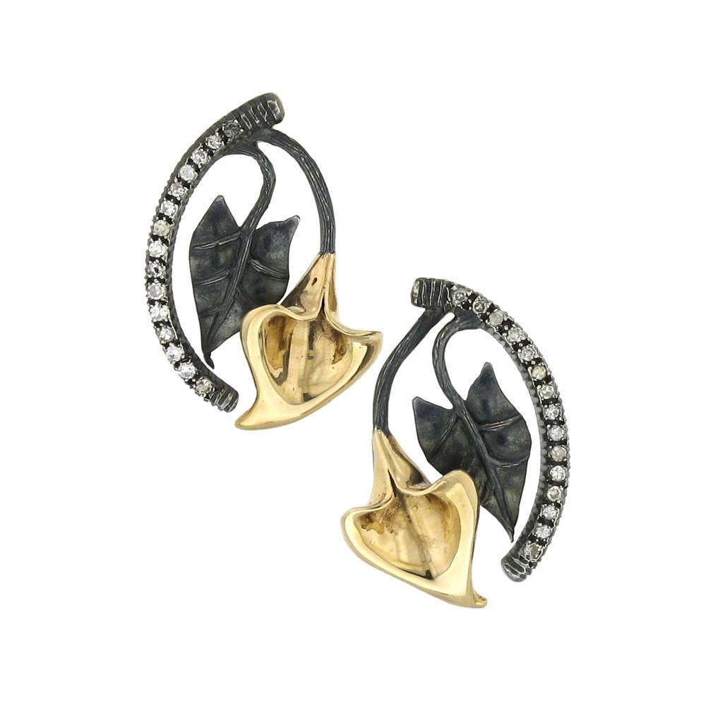 Aida Bergsen Flora gold and silver earrings with diamonds