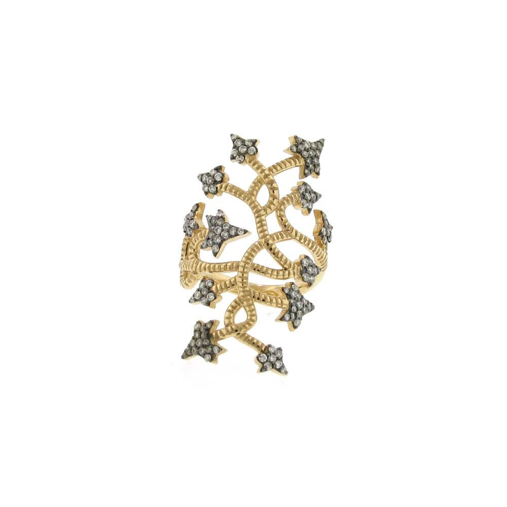 Aida Bergsen Flora gold vine medium ring with diamonds