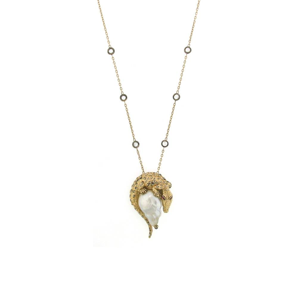 Aida Bergsen Fauna Collection rose gold crocodile necklace with baroque South Sea Pearl, diamonds, and rubies
