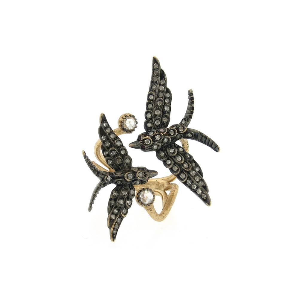 Aida Bergsen Wings Collection gold and silver ring with diamonds and rubies