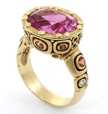 Alex Sepkus Little Windows gold ring with pink tourmaline, sapphires and diamonds