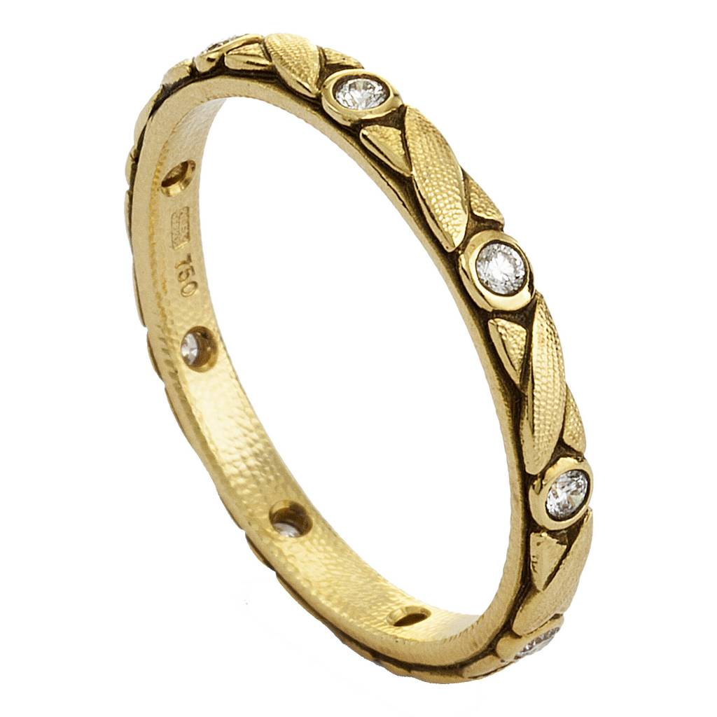 Alex Sepkus Crisscross gold band ring with diamonds