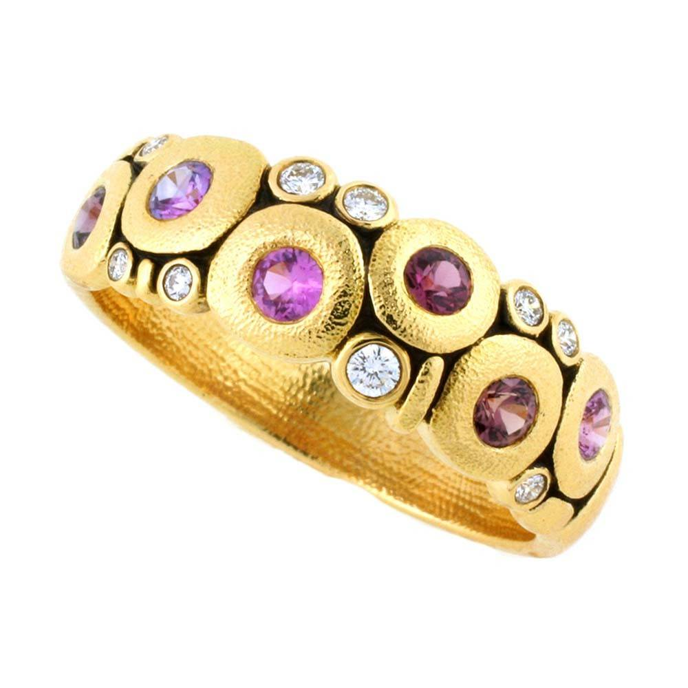 Alex Sepkus Candy Dome gold ring with sapphires and diamonds