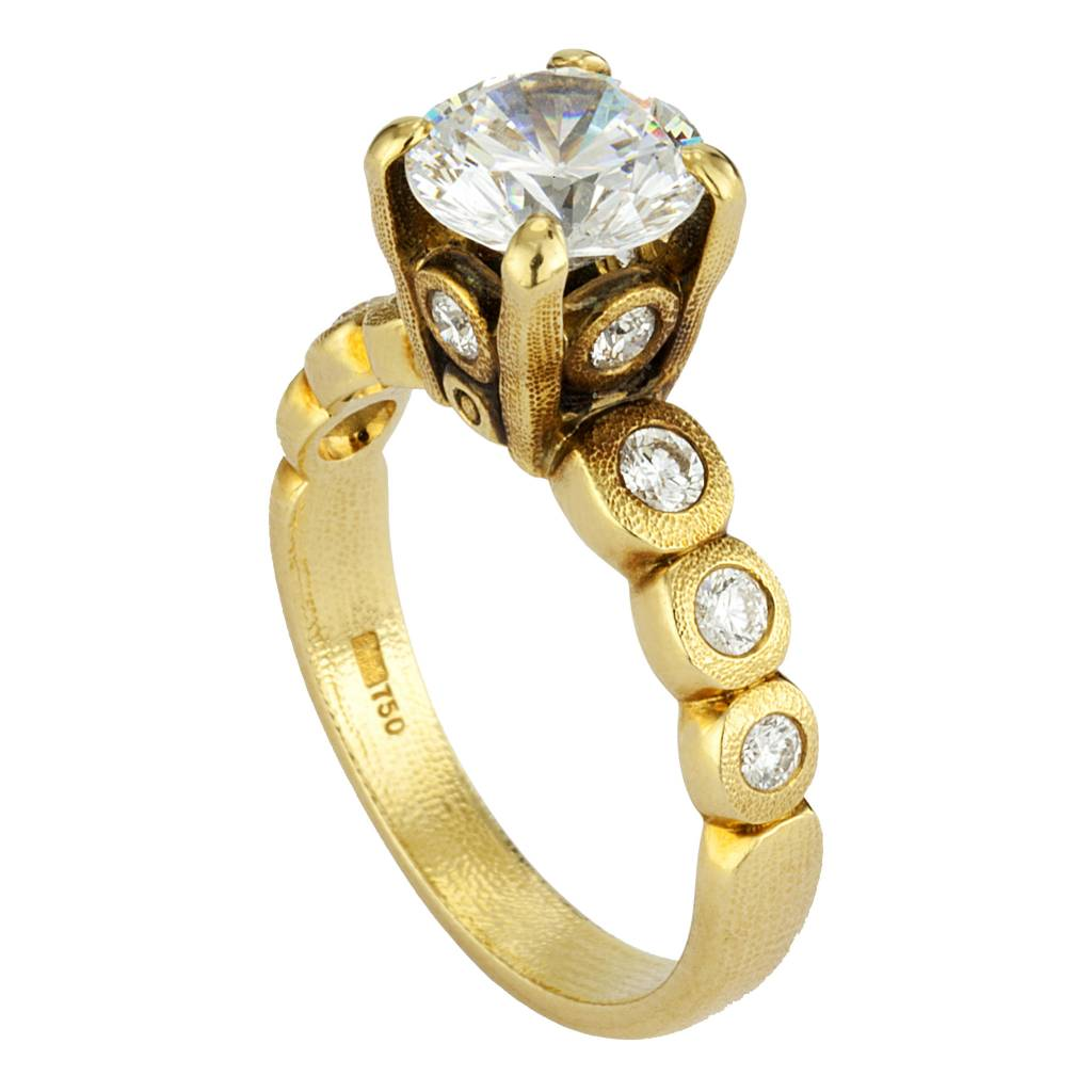 Alex Sepkus Candy gold mounting ring with diamonds accents