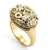 Alex Sepkus Flora gold ring with sapphires and diamonds