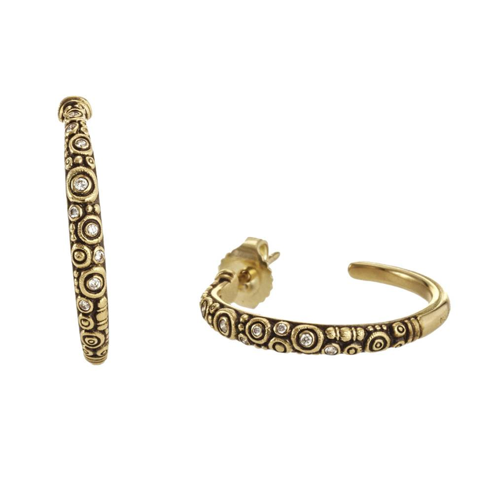 Alex Sepkus Hoop gold earrings with diamonds