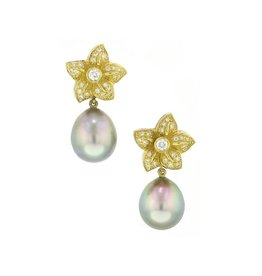 Assael Tahitian Pearl Flower Drop Earrings