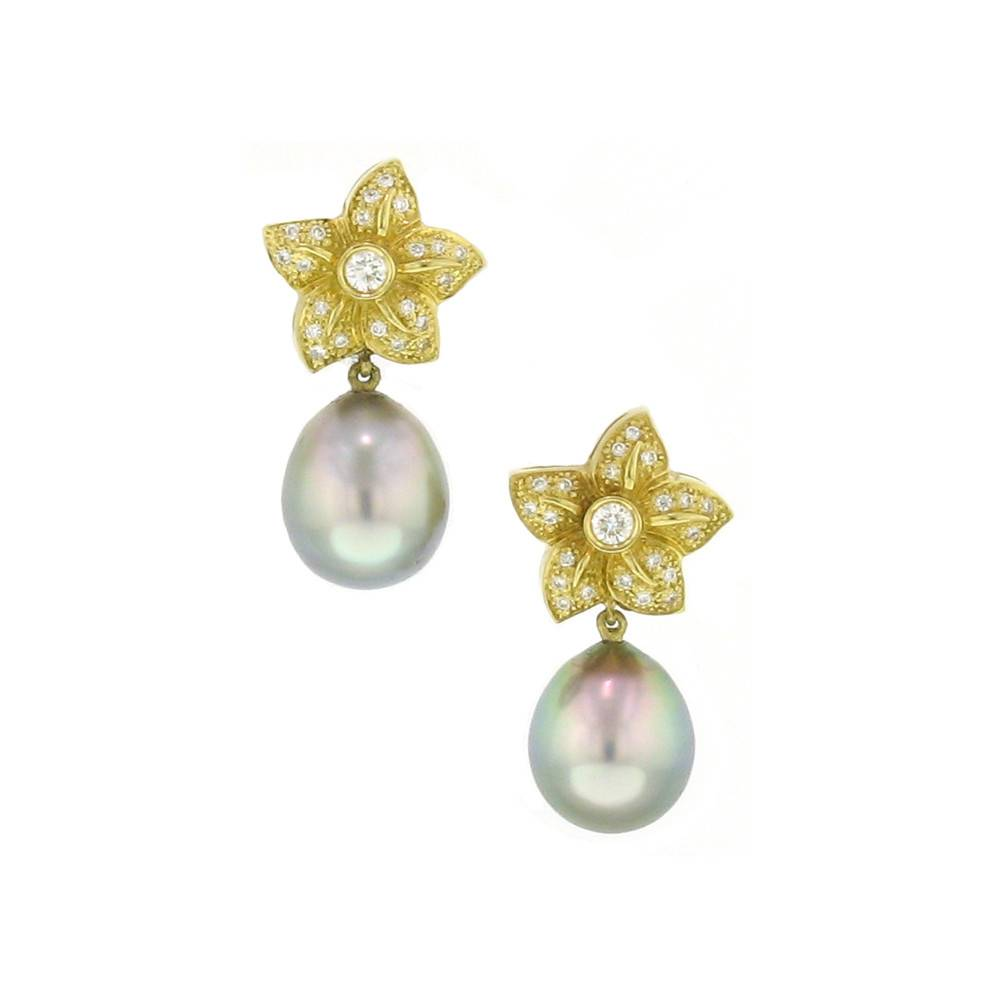 Assael Tahitian cultured pearl flower drop earrings with diamonds