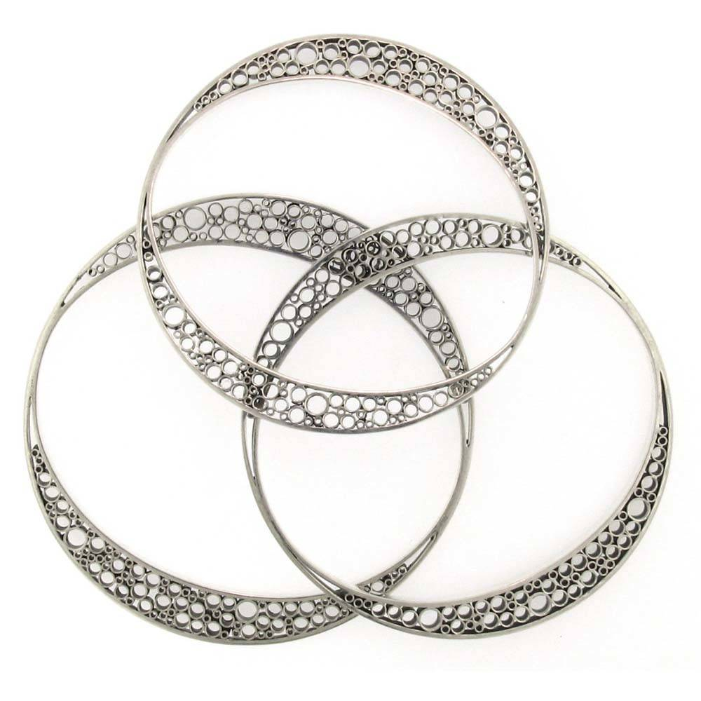 Belle Brooke Metropolis Collection Skinny silver medium bangle