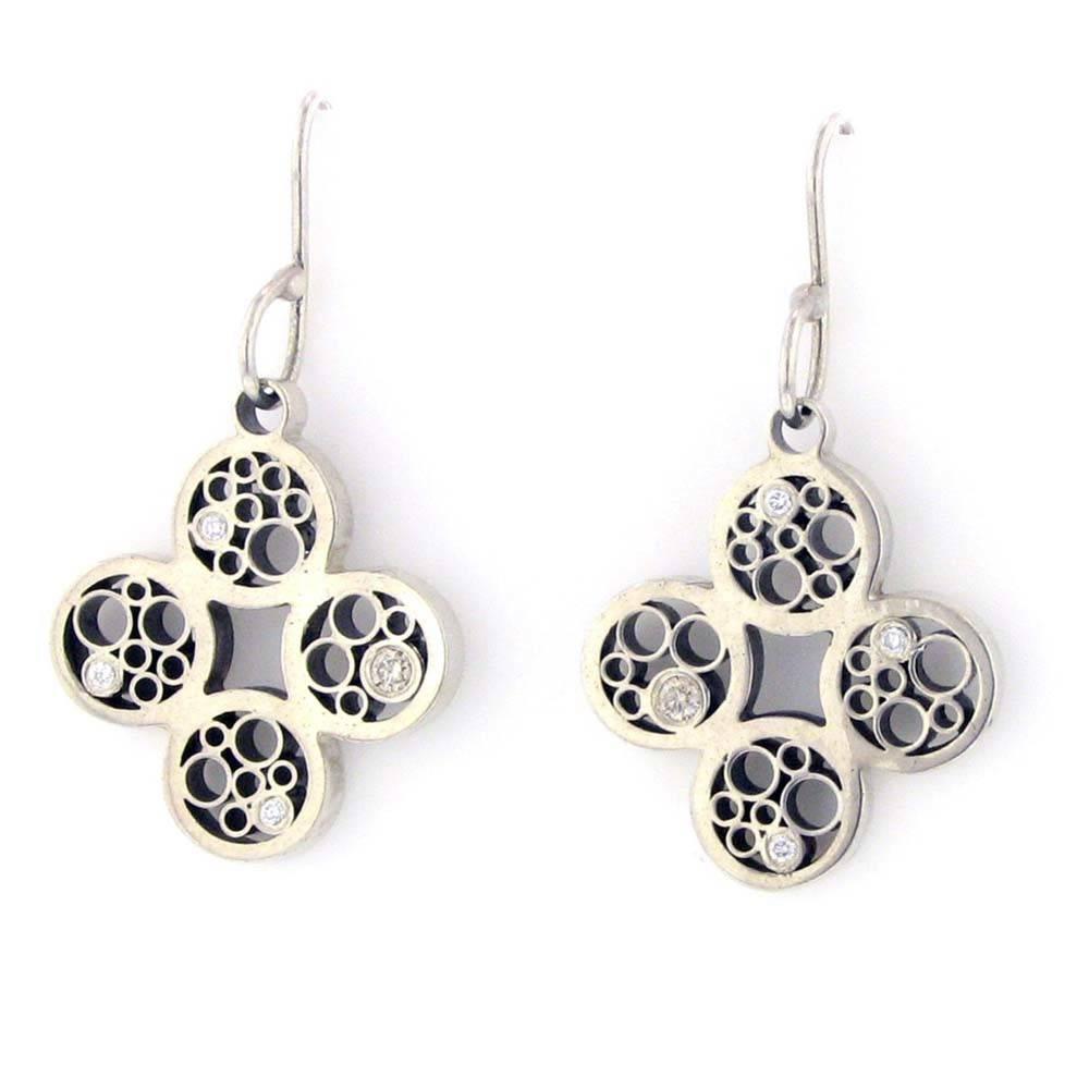Belle Brooke Metropolis silver hook earrings with diamonds