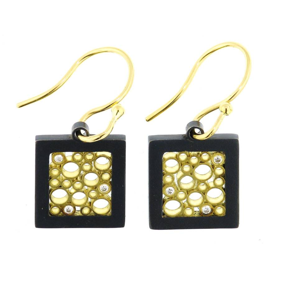 Belle Brooke Cielo Square silver and gold drop earrings
