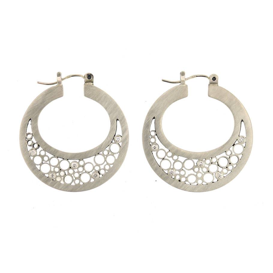 Belle Brooke Luz Collection hoop silver earrings with diamonds