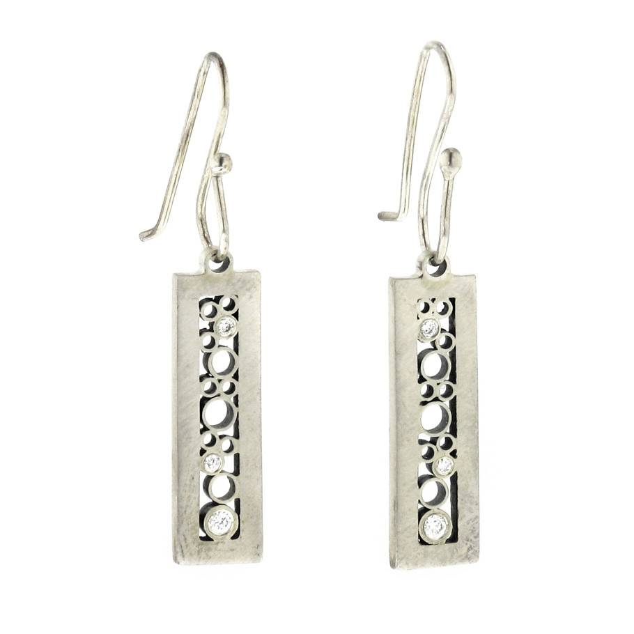 Belle Brooke Luz Collection rectangle silver earrings with diamonds