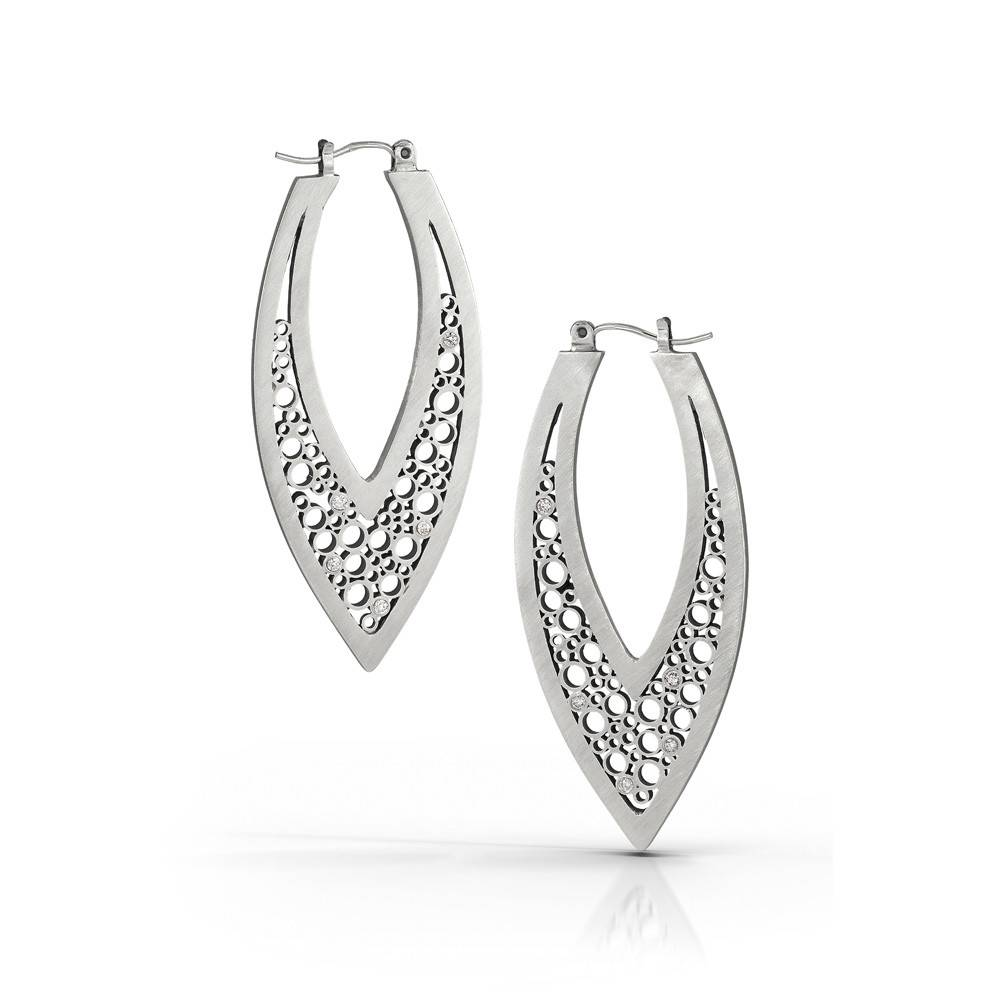 Belle Brooke V hoop silver earrings with diamonds
