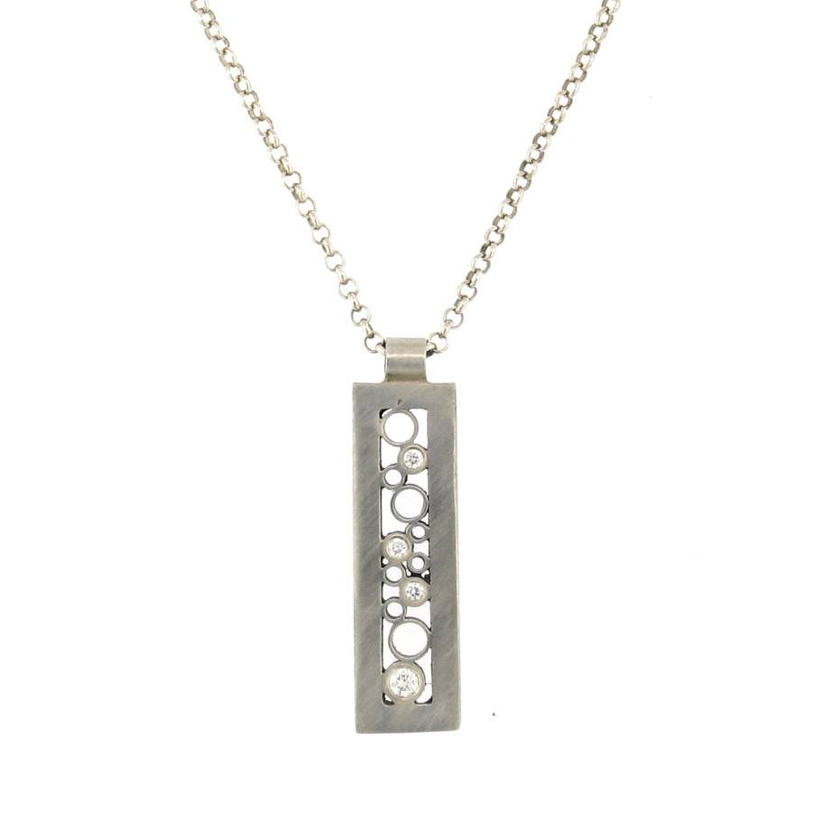 Belle Brooke Cielo Collection rectangle silver necklace with diamonds and gold accents