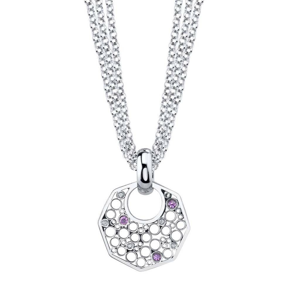 Belle Brooke Metropolis Octagon triple chain silver necklace